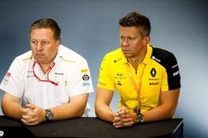 Zak Brown, Executive Director, McLaren, and Marcin Budkowski, Renault F1 Team, in the team principals Press Conference