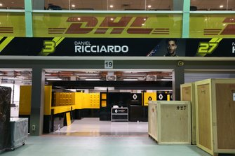 Freight in the Renault garage of Daniel Ricciardo