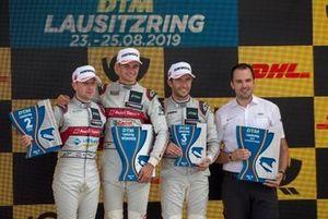 Podio: Ganador de la carrera Nico Müller, Audi Sport Team Abt Sportsline, segundo lugar Robin Frijns, Audi Sport Team Abt Sportsline, tercer lugar Mike Rockenfeller, Audi Sport Team Phoenix