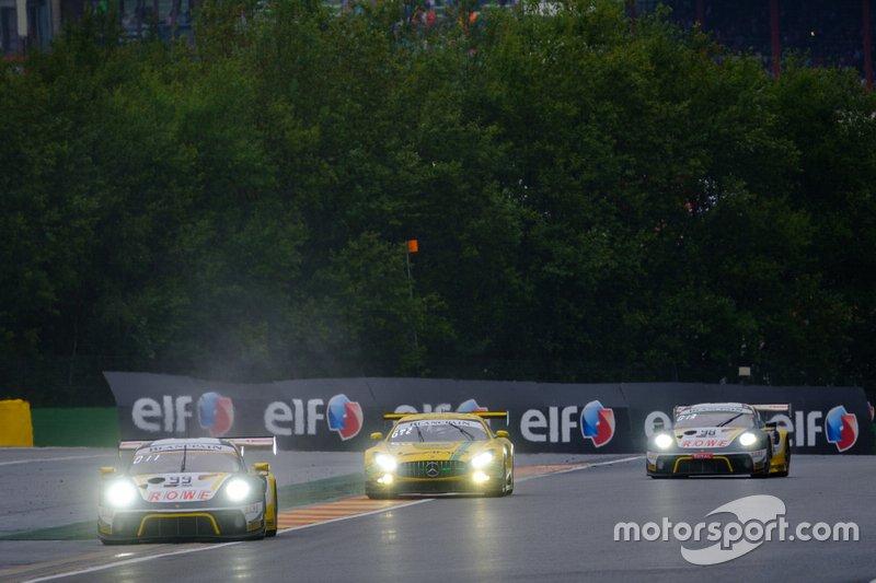 #99 ROWE Racing Porsche 911 GT3 R: Dennis Olsen, Dirk Werner, Matt Campbell, #999 GruppeM Racing Team Mercedes-AMG GT3: Maximilian Buhk, Maximilian Götz, Lucas Auer