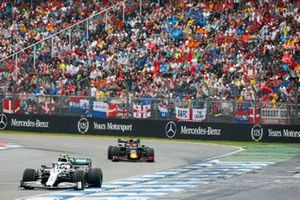 Valtteri Bottas, Mercedes AMG W10 leads Max Verstappen, Red Bull Racing RB15