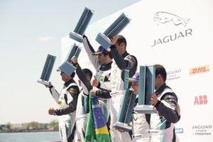 The PRO podium: Race winner Sérgio Jimenez, Jaguar Brazil Racing, Cacá Bueno, Jaguar Brazil Racing, 2nd position, Simon Evans, Team Asia New Zealand, 3rd position stand with the PRO AM podium: Race winner Bandar Alesayi, Saudi Racing, Yaqi Zhang, Team Chin, 2nd position, Ahmed Bin Khanen, Saudi Racing, 3rd position