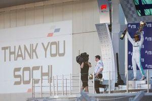 Race winner, Lewis Hamilton, Mercedes AMG F1 W10 celebrates on the podium