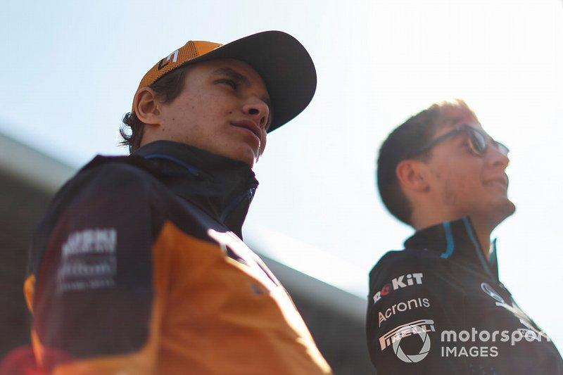 Lando Norris, McLaren, and George Russell, Williams Racing