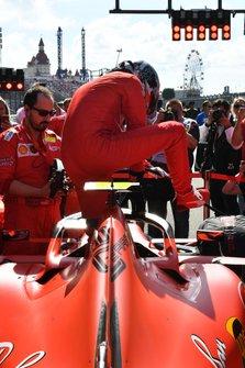 Charles Leclerc, Ferrari, climbs into his car