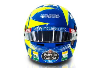 Helmet of Lando Norris, McLaren with the colors of Valentino Rossi