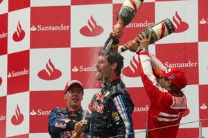 Podium: Race winner Mark Webber, Red Bull Racing second place Sebastian Vettel, Red Bull Racing, third place Felipe Massa, Ferrari