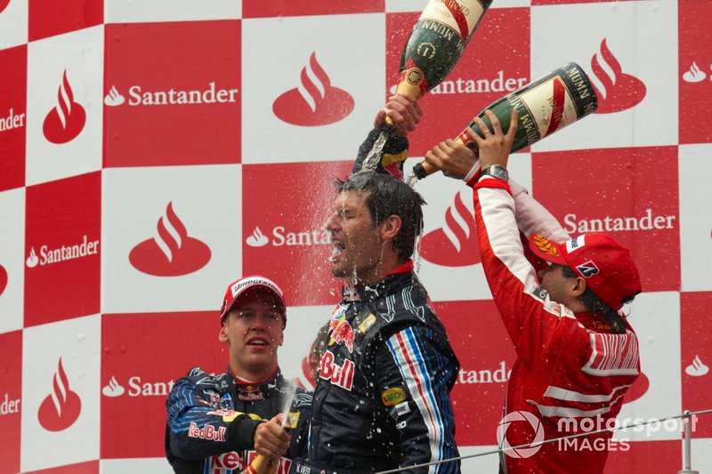 Podium: Race winner Mark Webber, Red Bull Racing second place Sebastian Vettel, Red Bull Racing, third place Felipe Massa, Ferrari