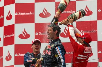 Podium: Winnaar Mark Webber, Red Bull Racing, tweede Sebastian Vettel, Red Bull Racing, derde Felipe Massa, Ferrari
