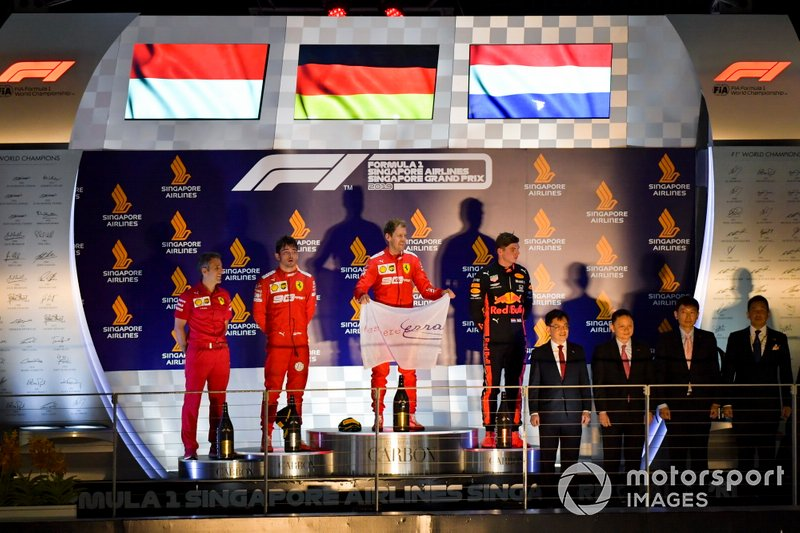Charles Leclerc, Ferrari, Race winner Sebastian Vettel, Ferrari and Max Verstappen, Red Bull Racing on the podium