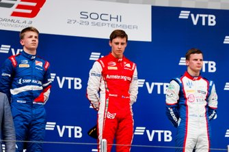 Robert Shwartzman, PREMA Racing, Marcus Armstrong, PREMA Racing and Niko Kari, Trident on the podium