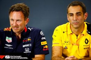 Christian Horner, Team Principal, Red Bull Racing, and Cyril Abiteboul, Managing Director, Renault F1 Team, in the Press Conference