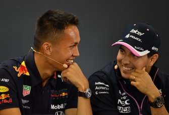 Alexander Albon, Red Bull, and Sergio Perez, Racing Point