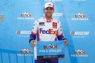 Pole sitter Denny Hamlin, Joe Gibbs Racing, Toyota Camry FedEx Express