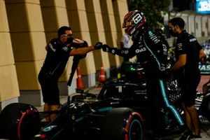 George Russell, Mercedes-AMG F1, arrives in Parc Ferme, after finishing on the front row