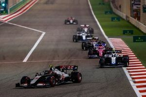Kevin Magnussen, Haas VF-20, Nicholas Latifi, Williams FW43, Sergio Perez, Racing Point RP20, and Antonio Giovinazzi, Alfa Romeo Racing C39