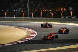 Sebastian Vettel, Ferrari SF1000, Lando Norris, McLaren MCL35, and Alex Albon, Red Bull Racing RB16