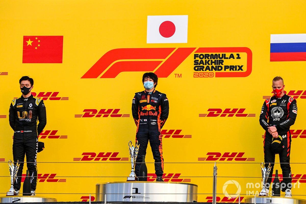 Podio: segundo lugar Guanyu Zhou, UNI-Virtuosi, ganador de la carrera Yuki Tsunoda, Carlin, tercer lugar Nikita Mazepin, Hitech Grand Prix