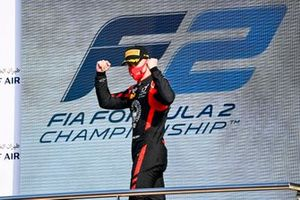 Nikita Mazepin, Hitech Grand Prix celebrate on the podium