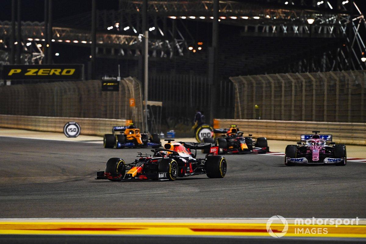 Max Verstappen, Red Bull Racing RB16, Sergio Pérez, Racing Point RP20, Alex Albon, Red Bull Racing RB16, Lando Norris, McLaren MCL35