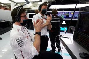 Toto Wolff, Executive Director - Business, Mercedes AMG, celebrates after Lewis Hamilton, Mercedes-AMG F1, and Valtteri Bottas, Mercedes-AMG F1, secure a 1-2 in Qualifying