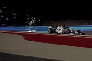 Daniil Kvyat, AlphaTauri AT01, kicks up some sparks