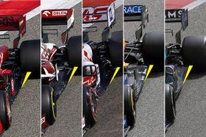 Ferrari, Alfa Romeo, Haas, Mclaren, Williams vloer vergelijking