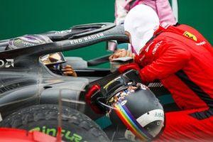 Race Winner Lewis Hamilton, Mercedes-AMG F1 celebrates his 7th World Championship title in Parc Ferme with Sebastian Vettel, Ferrari