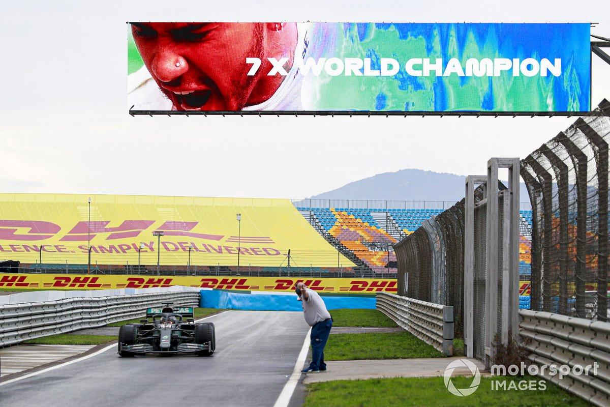Lewis Hamilton, Mercedes F1 W11, 1st position, drives into Parc Ferme