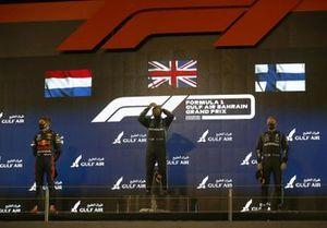 Max Verstappen, Red Bull Racing RB16B 2nd, Lewis Hamilton, Mercedes W12 1st and Valtteri Bottas, Mercedes W12 3rd