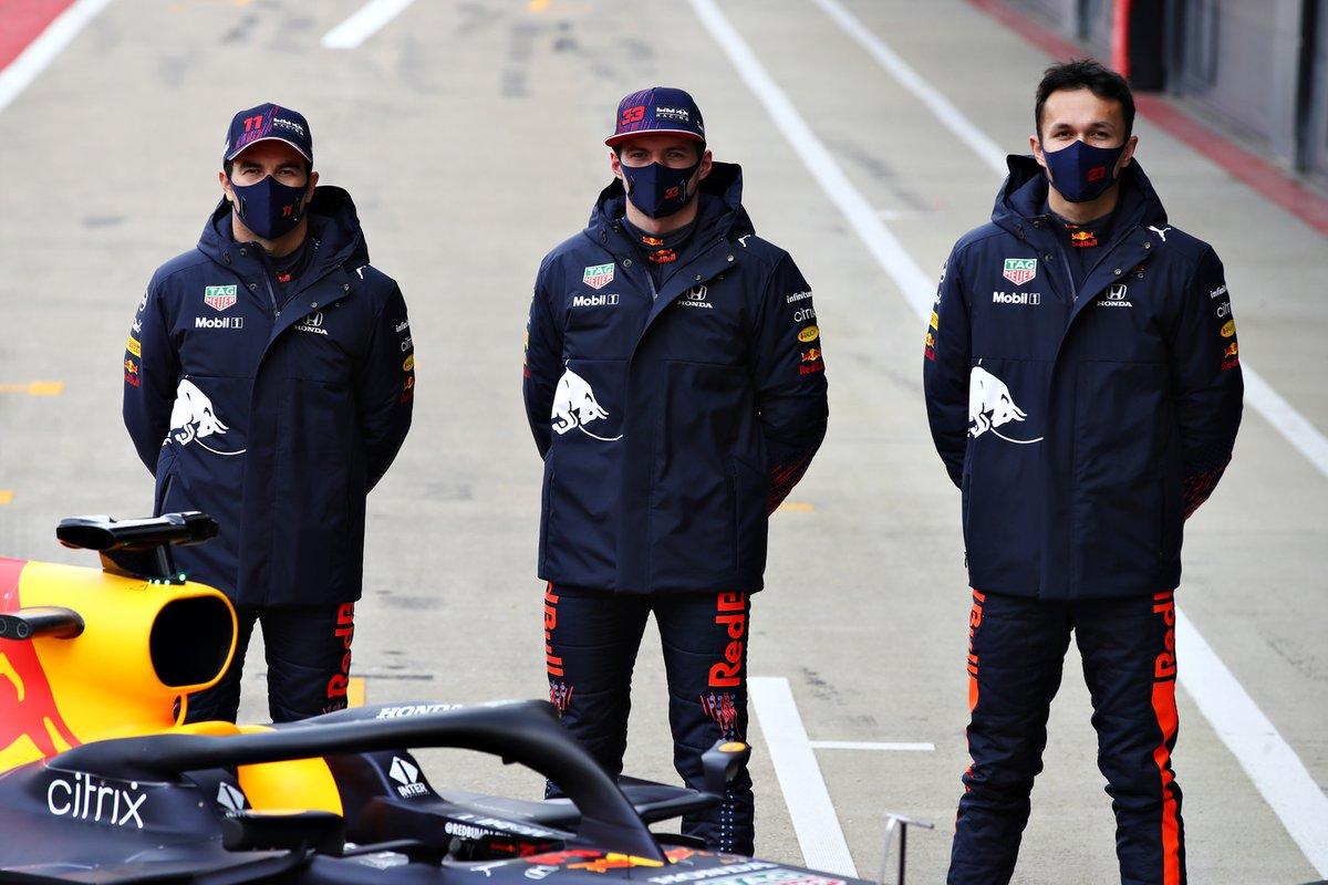 Sergio Perez, Red Bull Racing, Max Verstappen, Red Bull Racing, Alexander Albon, Red Bull Racing