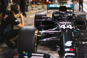 Lewis Hamilton, Mercedes F1 W11, in the pit lane