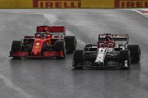 Kimi Raikkonen, Alfa Romeo Racing C39, Sebastian Vettel, Ferrari SF1000