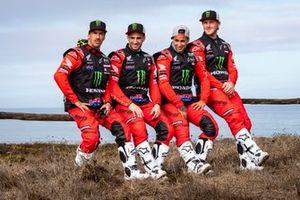 #1 Monster Energy Honda Team: Ricky Brabec, #4 Monster Energy Honda Team: Jose Ignacio Cornejo Florimo, #47 Monster Energy Honda Team: Kevin Benavides, #88 Monster Energy Honda Team: Bort Joan Barreda