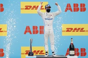 Nyck de Vries, Mercedes-Benz EQ, 1st position, celebrates on the podium