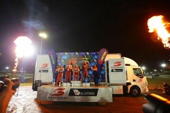 Podium: race winner Fabian Coulthard, DJR Team Penske Ford, second place Scott McLaughlin, DJR Team Penske Ford, third place Chaz Mostert, Tickford Racing Ford