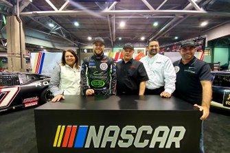 NASCAR Pinty's Series Director Cherie Putnam; Alex Labbe; David Jacombs, Car Owner, Joe Balash, NASCAR; Martin D'Anjou, Sponsor