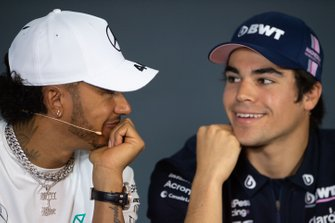 Lewis Hamilton, Mercedes AMG F1, and Lance Stroll, Racing Point