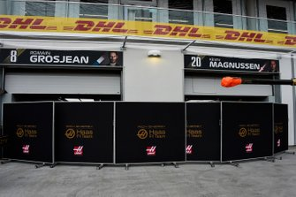 The Haas team's garages in the pit lane