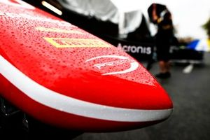 Raindrops on the nose of car from Prema Racing