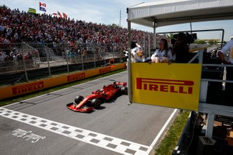 Sebastian Vettel, Ferrari SF90, 2nd position, takes the chequered flag, first on the road