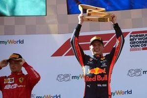 Race winner Max Verstappen, Red Bull Racing, on the podium