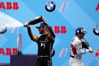 Jean-Eric Vergne, DS TECHEETAH, 3rd position, Lucas Di Grassi, Audi Sport ABT Schaeffler, 1st position, celebrates on the podium