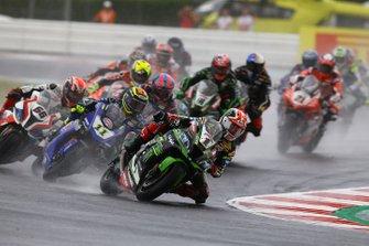Jonathan Rea, Kawasaki Racing Team leads on lap1