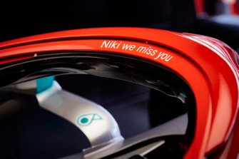 The red painted Halo on the Mercedes AMG F1 W10 in honour of the late Niki Lauda