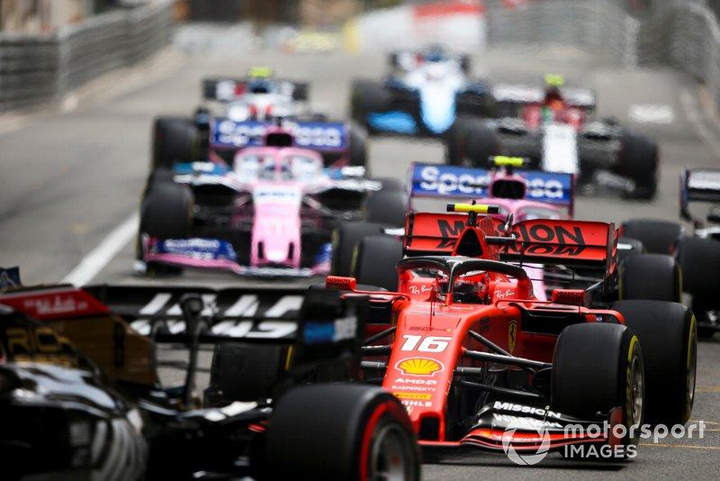 Charles Leclerc, Ferrari SF90, alla partenza della gara