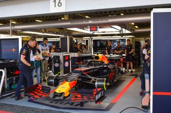 The car of Max Verstappen, Red Bull Racing RB15, in the garage