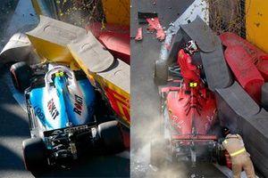 Crashed cars of Robert Kubica, Williams FW42 and Charles Leclerc, Ferrari SF90