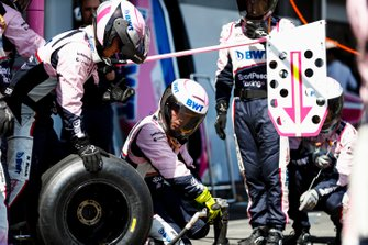 The Racing Point pit crew practice their trade