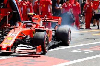 Charles Leclerc, Ferrari SF90, leaves the pits